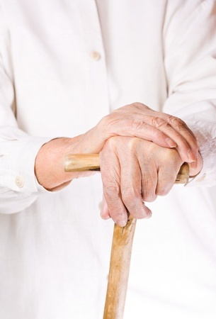 hand of an old man in white, with isolated background Stock Photo - 9455159