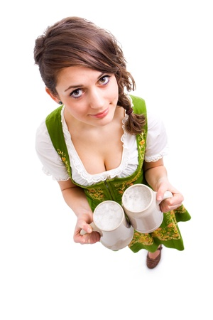 Beautiful young girl with beer  photo