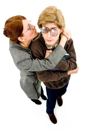 dweeb: nerd guy scared of a woman Stock Photo