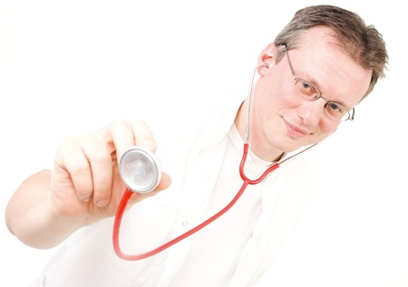 isolated young caucasian doctor portrait Stock Photo - 10011937
