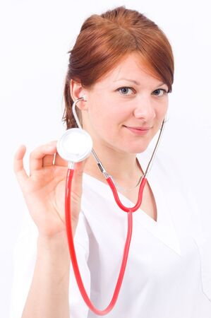 Portrait of doctor or nurse smiling with isolated background Stock Photo - 10011988
