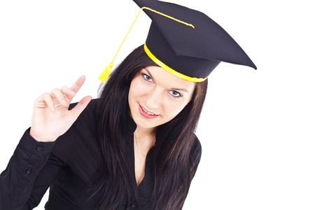 Portrait of a graduating, attractive woman, whit isolated background photo