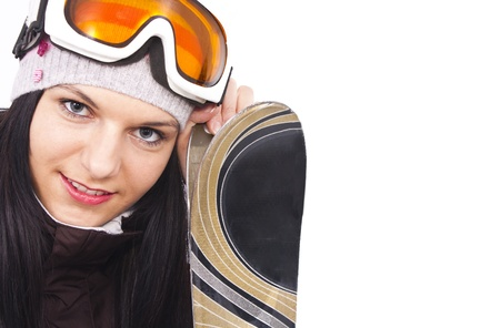 beautiful sporty girl ready for skiing, isolated background photo