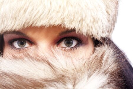 A portrait of an attractive woman wearing a fur hat photo