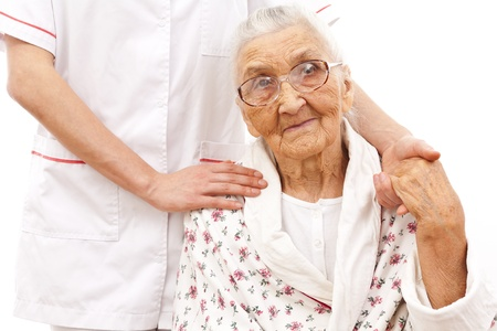 elderly patient: young doctor Stock Photo