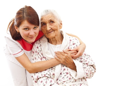 charitable: Young female doctor  caring about a very old female patient Stock Photo