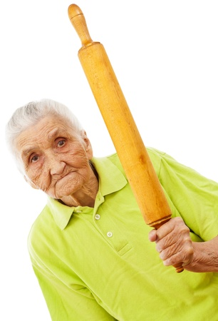 angry old woman holding a rolling pin in her hand