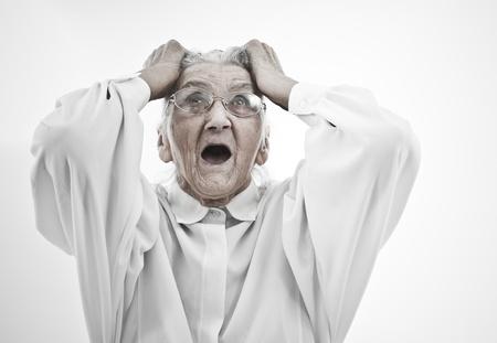 neurosis: very old woman tearing her hair