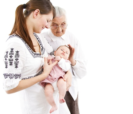 three generations of a family: baby, mother and great-grandmother photo