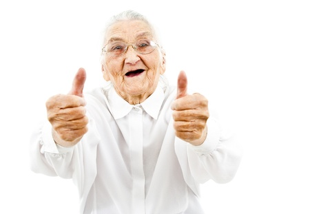 oldage: happy old woman showing thumbs up on both of her hands