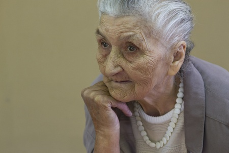 distraught: old lady