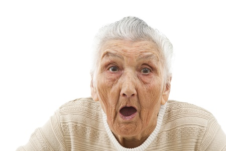 gasping: surprised old woman Stock Photo