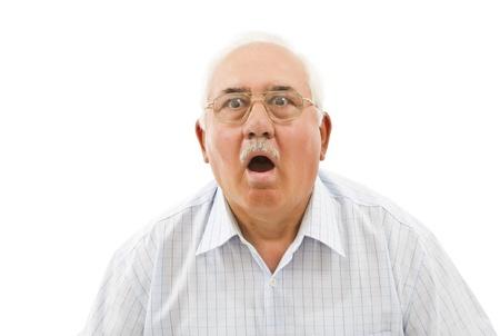 awe: surprised old  man
