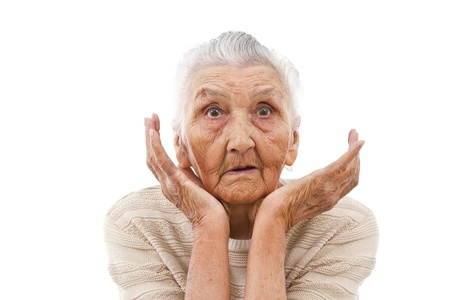fear face: very old woman beng surprised by something