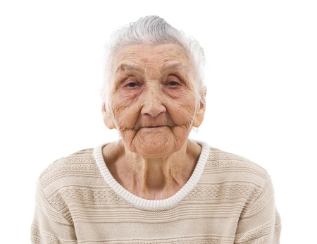 bored old woman isolated on white