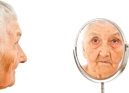 old lady's portrait in the mirror Stock Photo - 21383575