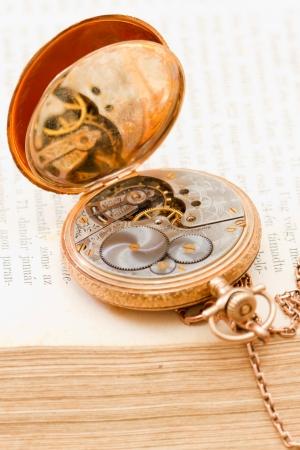pocket book: mechanical clockwork of a vintage gold pocket watch  Stock Photo