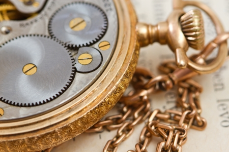 closeup for a vintage  mechanical clockwork photo