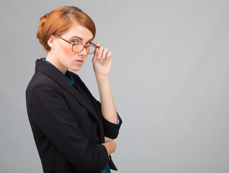 beautiful redhead: Attractice young  red- haiired businessiwoman