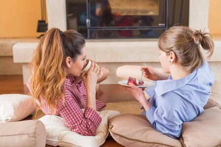 guest house: Women chitchatting with best friend at home near a tea.