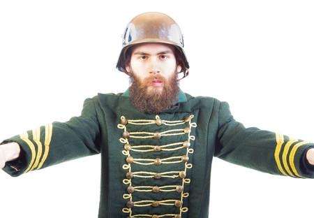 weirdo: Portrait of a strange man in hat and uniform. Stock Photo