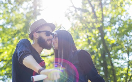 Kind lovers spending valuable time together in nature. Stock Photo