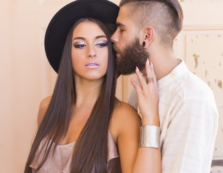 deeply: Beautiful hipster couple loving each other deeply and truely. Stock Photo