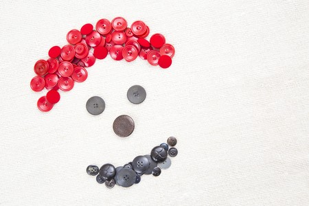 similarity: Happy smiley face made out of colorful buttons. Stock Photo