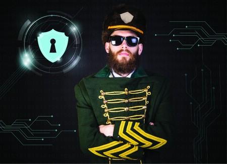 Security man in green uniform
