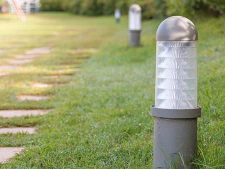 Gray nighttime garden light, garden lamp. Standard-Bild