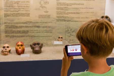child taking skull primate photography at museum Banco de Imagens