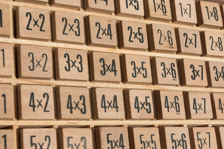 multiplication: Educational wooden multiplication table Stock Photo