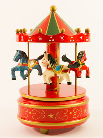 red merry-go-round horse carillon, wooden carouse
