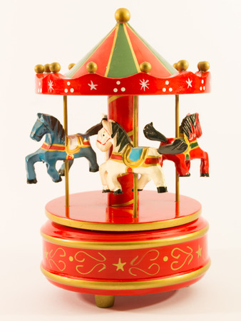 carrousel: red merry-go-round horse carillon, wooden carouse