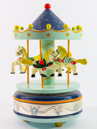 carrousel: sky blue merry-go-round horse carillon, wooden carouse