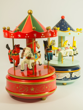 carrousel: sky blue and red merry-go-round horse carillon, wooden carouse