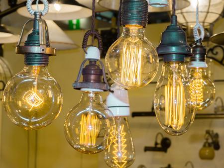 old carbon light bulb Filament, amber edison bulb