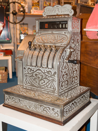 Antique cash register cash-desk, counter charge in lire italy photo