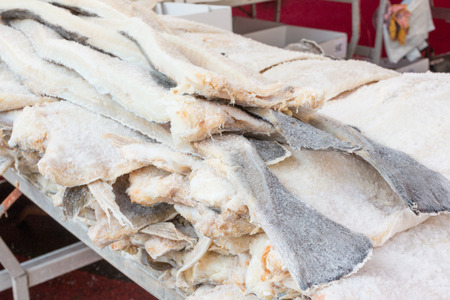 boned: dried Cod fish salted codfish stacked Stock Photo