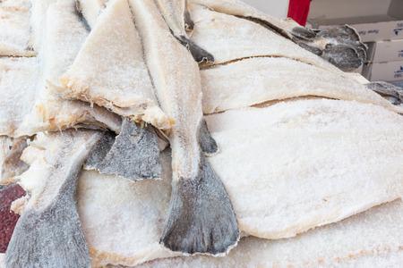 dried Cod fish salted codfish stacked Standard-Bild