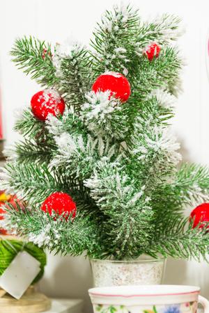 plastic christmas tree: little plastic christmas tree with red balls