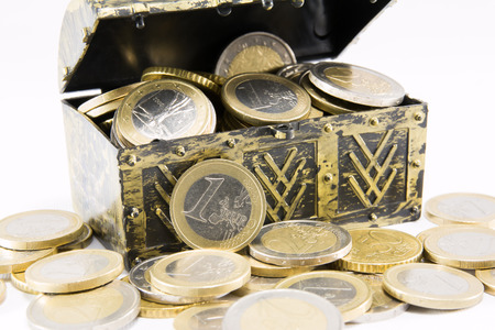 coin silver: treasure chest filled with gold and silver coin, euro currency