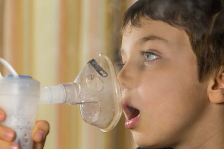 gasp: child taking respiratory, inhalation therapy