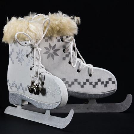 stock photo white ice skate christmas ornament christmas skates - Ice Skating Christmas Ornaments