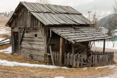waterwheel: abandoned historic old wooden water mill house, waterwheel