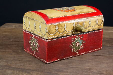 jewel box: Colorful wooden jewel box ethnic style Stock Photo