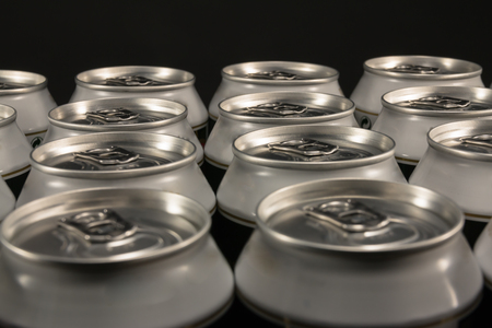 tinned goods: group of aluminum beverage cans Stock Photo