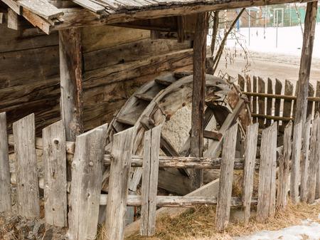 waterwheel: Abandoned historic old wooden water mill house, waterwheel Stock Photo