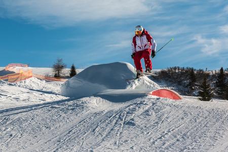 ski jump: freestyle ski jump in mountain snow park, winter season
