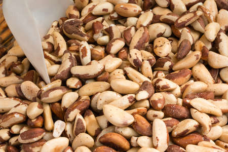 hickory nuts: closeup of crunchy brazil nuts in wicker bowl